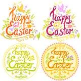 Szczęśliwy Wielkanocny literowanie z małymi ptakami i ulistnieniem Obraz Royalty Free