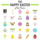 Szczęśliwy Wielkanocny płaski ikona set, wakacyjni symbole royalty ilustracja