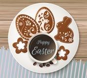 Szczęśliwy Wielkanocny powitanie, miodownik w postaci jajek Wiosna wakacje, Wielkanocny tło Zdjęcia Stock