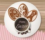 Szczęśliwy Wielkanocny powitanie, miodownik w postaci jajek Wiosna wakacje, Wielkanocny tło Obraz Stock