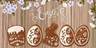 Szczęśliwy Wielkanocny powitanie, miodownik w postaci jajek Wiosna wakacje, Wielkanocny tło Obraz Royalty Free