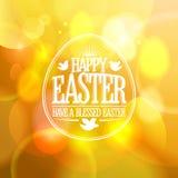 Szczęśliwy Wielkanocny projekt na złocistym bokeh tle ilustracji