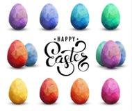 Szczęśliwy Wielkanocny Przejrzysty Wektorowy szablon z jajkami ustawiającymi ilustracja wektor