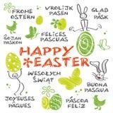 Szczęśliwy Wielkanocny różnojęzyczny Ilustracja Wektor