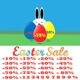 Szczęśliwy Wielkanocny sprzedaż set, szablonu procent i chrzcielnica, liczby Fotografia Royalty Free