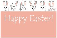 Szczęśliwy Wielkanocny sztandar z królik twarzami Królika wektoru kartka z pozdrowieniami lub granica ilustracji