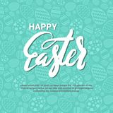 Szczęśliwy Wielkanocny tło szablonu kartka z pozdrowieniami Z Kreatywnie literowanie ręką Rysującą Fotografia Royalty Free