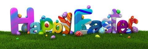 Szczęśliwy Wielkanocny tekst z kolorowymi jajkami na zielonej trawie Fotografia Royalty Free