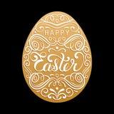 Szczęśliwy Wielkanocny typ kartka z pozdrowieniami w jajecznym kształcie Święta religijne wektorowa ilustracja dla plakata, ulotk Obrazy Royalty Free