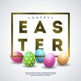 Szczęśliwy Wielkanocny Wakacyjny projekt z Kolorowym Malującym Jajecznym i Złotym typografia listem na Białym tle international royalty ilustracja