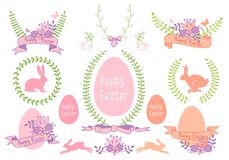 Szczęśliwy Wielkanocny wektorowy projekta set Zdjęcie Stock