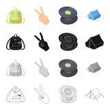 Szczęśliwy, wizerunku, stylu życia i inny sieci ikono w kreskówka stylu, Plecak, rękojeści, kieszeniowe ikony w ustalonej kolekci ilustracja wektor