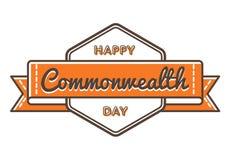 Szczęśliwy wspólnota narodów dnia powitania emblemat Fotografia Stock