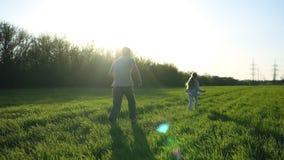 Szczęśliwy wychowywać Ojciec wydaje czas z dwa dziećmi Dziewczyny biegają na łące z jego tata Dotyk i bieg zbiory wideo