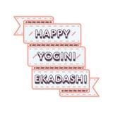 Szczęśliwy Yogini Ekadashi dnia powitania emblemat Obrazy Royalty Free