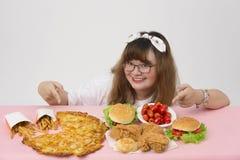Szczęśliwy z fastfood i Fotografia Royalty Free
