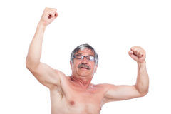 Szczęśliwy z podnieceniem bez koszuli starszy mężczyzna zdjęcie royalty free