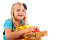 Szczęśliwy z wiele prezentów pudełkami Zdjęcie Stock