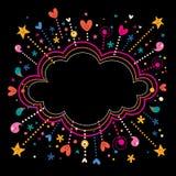 Szczęśliwy zabawy gwiazdy wybuchów kreskówki chmury kształta sztandaru ramy tło Obraz Stock