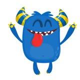 Szczęśliwy zadowolony kreskówka potwór Zadowolona potwór emocja Wektorowa Halloween ilustracja ilustracji