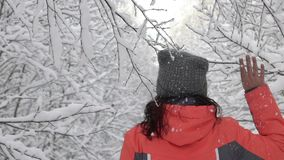 Szczęśliwy zima dnia kobiety odprowadzenie w drewna macania białej śnieżnej lasowej gałąź drzewa, śnieg spada od one zbiory