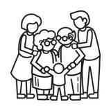 Szczęśliwy zlany rodzinnego pojęcia tło, konturu styl royalty ilustracja