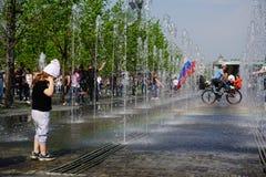 Szczęśliwy zwycięstwo dzień w Moskwa obraz royalty free
