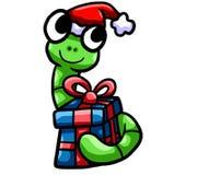 Szczęśliwych Świąt Bożego Narodzenia dżdżownica Trzyma Jego prezent ilustracji