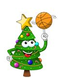 Szczęśliwych Świąt Bożego Narodzenia lub xmas charakteru maskotka bawić się koszykówkę odizolowywającą na bielu royalty ilustracja