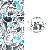 Szczęśliwych Świąt Bożego Narodzenia projekta Obiadowy szablon Wektorowa ręka rysujący illust ilustracja wektor