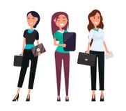 Szczęśliwych bizneswomanów Eleganccy spodnia i bluzka ilustracji