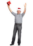 Szczęśliwych bożych narodzeń mężczyzna z xmas prezentem. Zdjęcia Stock