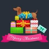 Szczęśliwych bożych narodzeń psy na stercie teraźniejszość, xmas prezenty dla zwierzę wektoru ilustraci ilustracja wektor