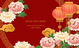 Szczęśliwych Chińskich nowy rok ulgi retro złocistych menchii peoni kwiatu lampionu chmury i round kratownicy maswerku czerwona r ilustracji