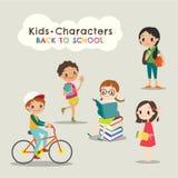 Szczęśliwych dzieci czytelnicze książki szkoły kreskówka z powrotem ilustracji