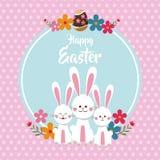 szczęśliwych Easter ślicznych królików kropek kwiecisty tło Obrazy Royalty Free
