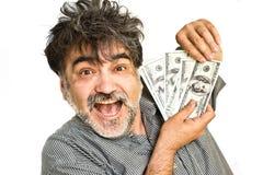 szczęśliwych mężczyzna amerykańscy dolary Zdjęcie Stock