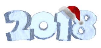 2018 Szczęśliwych nowego roku błękita lodu tekstów z czerwonym kapeluszem royalty ilustracja