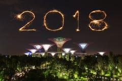 2018 Szczęśliwych nowego roku fajerwerku błyskotań z ogródami zatoką przy Zdjęcia Stock