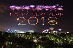 2018 Szczęśliwych nowego roku fajerwerku błyskotań z ogródami zatoką przy Zdjęcia Royalty Free