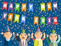 2016 SZCZĘŚLIWYCH nowego roku mieszkania stylu ludzi Zdjęcia Stock