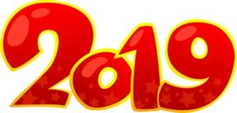 2019 Szczęśliwych nowego roku projekta elementów obraz stock