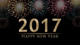 2017 Szczęśliwych nowego roku ` s wigilii ilustracj, karta z kolorowymi fajerwerkami Obraz Stock