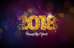 2018 Szczęśliwych nowego roku tła ilustracj z Złocistą błyskotliwości Typograph liczbą Wektorowy Wakacyjny projekt dla premii Obraz Royalty Free