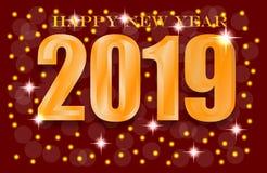 2019 Szczęśliwych nowego roku xmas powitań ilustracja wektor