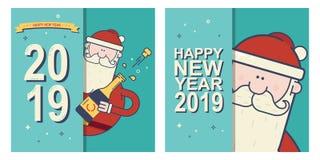 2019 Szczęśliwych nowy rok świętuje karty ustawiać z Święty Mikołaj ilustracja wektor