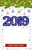 2019 Szczęśliwych nowy rok ilustracj ilustracji