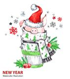 2019 Szczęśliwych nowy rok ilustracj Boże Narodzenia Śliczna świnia w zima szaliku z Santa kapeluszem Powitanie akwareli tort sym royalty ilustracja