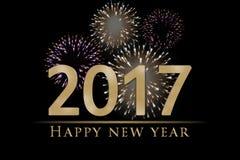 2017 Szczęśliwych nowy rok ilustracj, karta z fajerwerkami, tekst na czarnym tle Obraz Stock