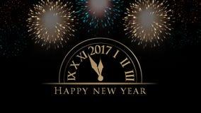 2017 Szczęśliwych nowy rok ilustracj, karta z zegarem, fajerwerki, tekst na czarnym tle Obraz Royalty Free